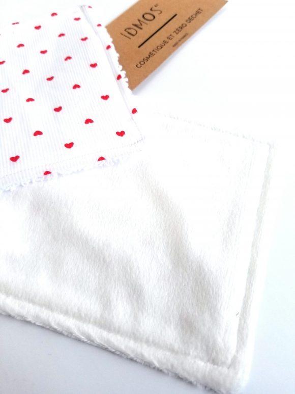 7 lingettes réutilisables et lavables - Motifs cœurs- IDMOS